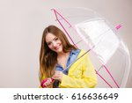 woman rainy smiling girl... | Shutterstock . vector #616636649