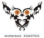 owl with big orange eyes....   Shutterstock .eps vector #616637621