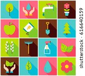 gardening spring colorful icons.... | Shutterstock .eps vector #616640159