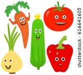 vegetables with eyes. vector... | Shutterstock .eps vector #616641605