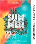 vector summer party poster... | Shutterstock .eps vector #616641977