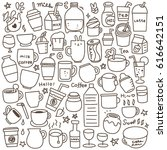 set of cute drink doodle. black ... | Shutterstock .eps vector #616642151