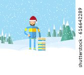 hipster man with beard on... | Shutterstock . vector #616642289
