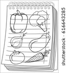 vegetables set on notebook... | Shutterstock .eps vector #616643285