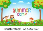 children playing on the grass... | Shutterstock .eps vector #616659767