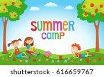 children playing on the grass... | Shutterstock .eps vector #616659767
