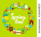 spring time flat circle. set of ... | Shutterstock .eps vector #616664825
