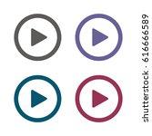 play icon vector flat design... | Shutterstock .eps vector #616666589