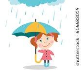 girl with umbrella standing... | Shutterstock .eps vector #616683059