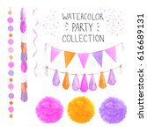 set of watercolor party... | Shutterstock . vector #616689131