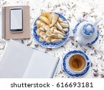 retro style tea set . open book ... | Shutterstock . vector #616693181