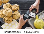 a contactless smart phone... | Shutterstock . vector #616693841