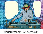 dj boy party mix music. pop art ... | Shutterstock .eps vector #616696931