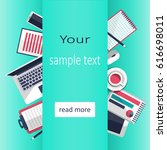 mix of office supplies and... | Shutterstock .eps vector #616698011