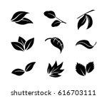 set of black vector leaf icons...   Shutterstock .eps vector #616703111