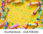 celebratory crackers with... | Shutterstock . vector #616708181