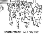 crowd walking cartoon sketch | Shutterstock . vector #616709459