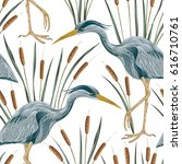 seamless pattern with heron... | Shutterstock .eps vector #616710761