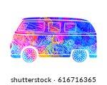 hippie vintage car a mini van... | Shutterstock .eps vector #616716365
