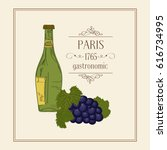 paris gastronomic. red wine and ... | Shutterstock .eps vector #616734995