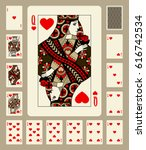 playing cards of hearts suit in ... | Shutterstock .eps vector #616742534