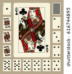 playing cards of clubs suit in... | Shutterstock .eps vector #616744895