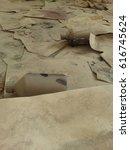 Small photo of Dirty floor. Paper. Dust. Junk. decrepitude.
