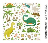 vector set of funny dinosaurs ... | Shutterstock .eps vector #616745861