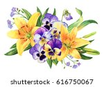 yellow lily and pansy flower... | Shutterstock . vector #616750067
