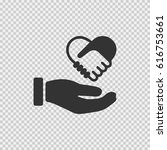 handshake forming heart in hand ... | Shutterstock .eps vector #616753661