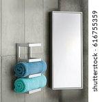 bathroom wall with hanging... | Shutterstock . vector #616755359