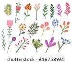 hand drawn colorful vintage... | Shutterstock . vector #616758965