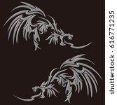 tribal dragon | Shutterstock .eps vector #616771235