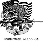 military  army rifle tattoo | Shutterstock .eps vector #616773215