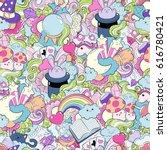 seamless pattern with hand... | Shutterstock .eps vector #616780421