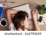 woman sleeping on the workplace.... | Shutterstock . vector #616790639