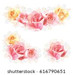 set of roses watercolor flower... | Shutterstock . vector #616790651