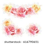 set of roses watercolor flower... | Shutterstock . vector #616790651