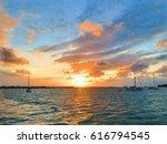 sunset from the marsh harbour ...   Shutterstock . vector #616794545