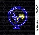 cocktail bar. neon signboard on ... | Shutterstock .eps vector #616803401