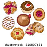 pastry and coffee  hand drawn... | Shutterstock .eps vector #616807631