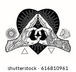 heart shape gesture with a... | Shutterstock .eps vector #616810961