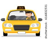 yellow taxi car and taxi driver  | Shutterstock .eps vector #616832531