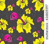 tropical skull hibiscus flower... | Shutterstock .eps vector #616835597