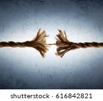 rope frayed in tension   risk... | Shutterstock . vector #616842821