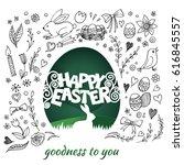 creative happy easter... | Shutterstock .eps vector #616845557