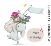Stock photo cute little birthday bunny with flower wreath 616850444