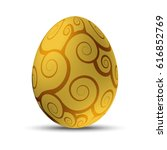 golden easter egg with floral... | Shutterstock .eps vector #616852769
