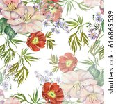 flowers spring watercolor on a... | Shutterstock . vector #616869539