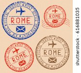 rome postmarks collection.... | Shutterstock .eps vector #616881035